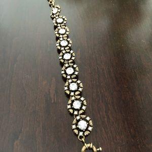 Gold and crystal floral bracelet